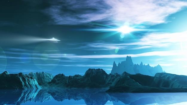 3d render von einer science-fiction-landschaft mit ufo