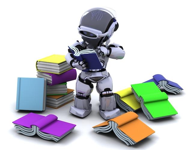 3d render von roboter mit büchern