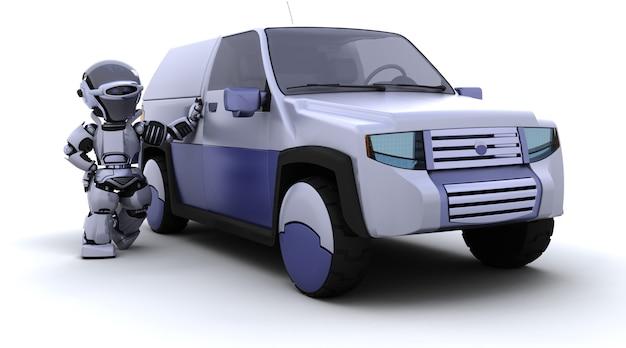 3d-render von roboter mit suv-konzept auto
