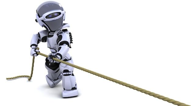 3d render von roboter ziehen an einem seil