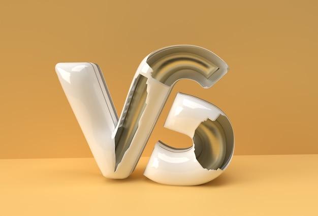3d render vs firmenbrief logo illustration design.
