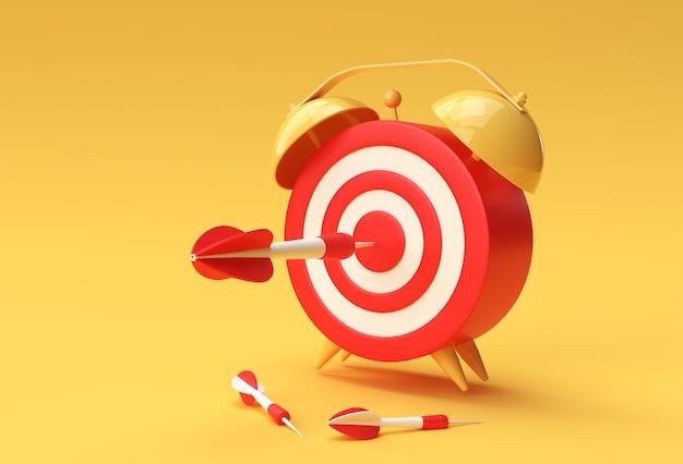 3d-render-weckerziel mit pfeil-zeitmanagement, planung, business-targeting und intelligentem lösungsdesign.