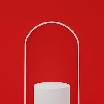 3d-render weißes podium isoliert in rotem bogenförmigem hintergrund