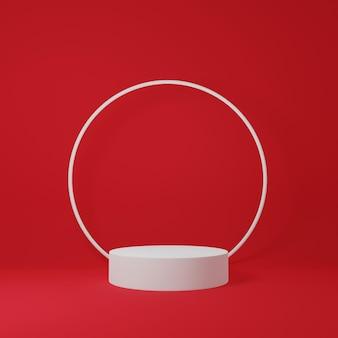 3d-render weißes podium und weißer ring darüber isoliert in rotem hintergrund
