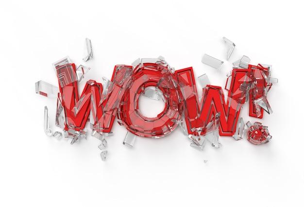 3d-render wow! gebrochene kalligrafie mit menschlicher hand-display-produkt-werbung. flyer poster illustration design.