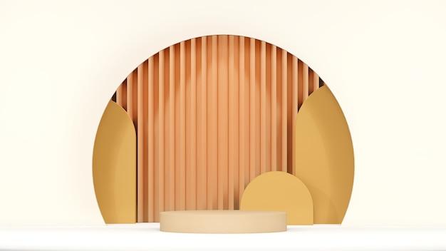 3d-renderbild braune podeste mit braunem und gebrochenem weißem farbhintergrund für herbstthemafarbe pa