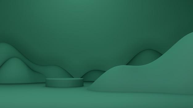 3d-renderbild dunkelgrünes podium mit dunkelgrünem, bergförmigem hintergrund für die produktanzeige