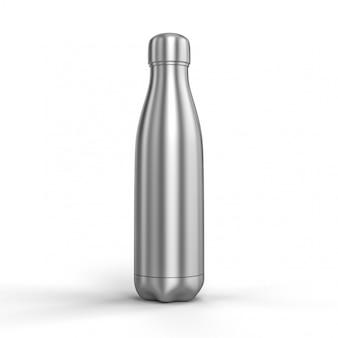 3d-renderbild einer thermischen edelstahlflasche.