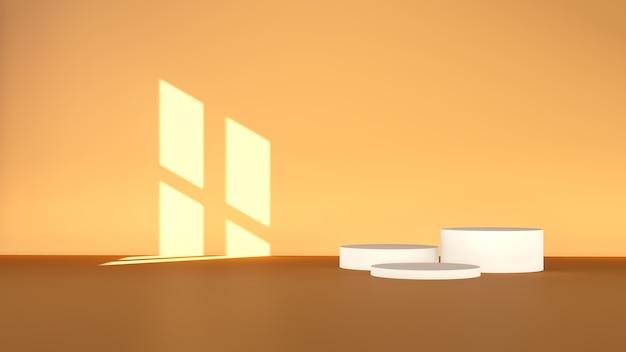 3d-renderbild gebrochene weiße podeste mit braunem hintergrund für die herbstthema-farbpalette