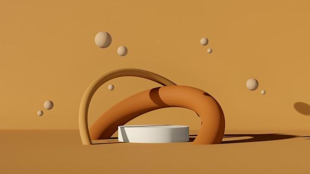 3d-renderbild gebrochenes weißes podium mit bällen donut-ring und braunem farbhintergrund für produktdi