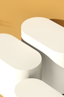 3d-renderbild gebrochenes weißes podium mit braunem farbhintergrund für produktanzeigewerbung