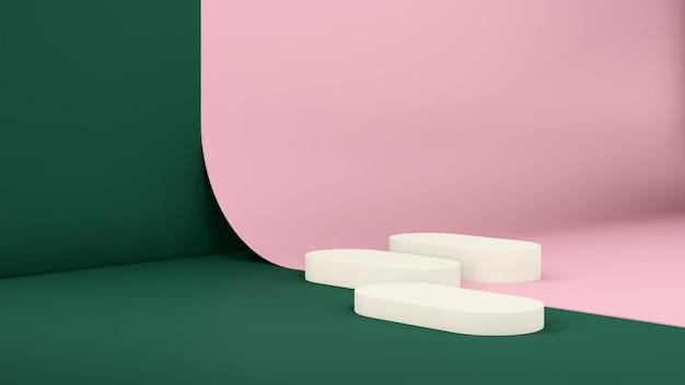 3d-renderbild gebrochenes weißes podium mit dunkelgrüner wand und rosa papierhintergrund für produktanzeige