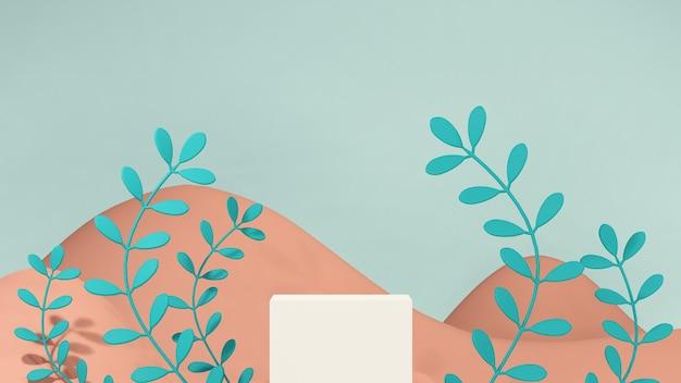 3d-renderbild gebrochenes weißes podium mit pflanzen und braunem, bergförmigem hintergrund für produktdis?