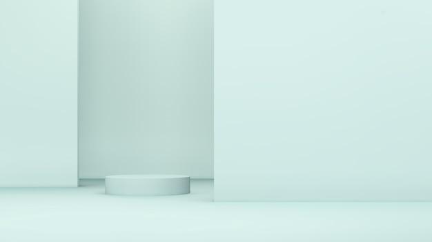 3d-renderbild hellblaue podeste und hellblauer hintergrund für produktdisplaywerbung