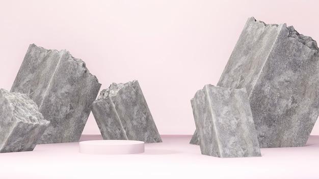 3d-renderbild hellrosa podien mit rosa wand und betonhintergrund für produktanzeige