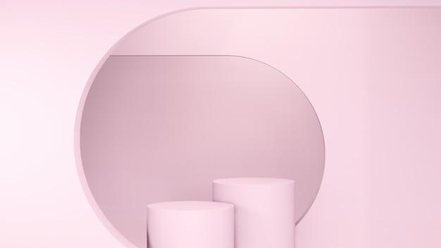 3d-renderbild hellrosa podien und rosa hintergrund für produktdisplaywerbung
