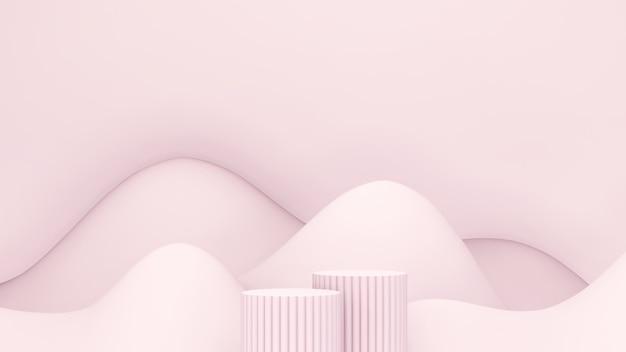 3d-renderbild hellrosa podium mit hellrosa bergförmigem hintergrund für die produktanzeige adv