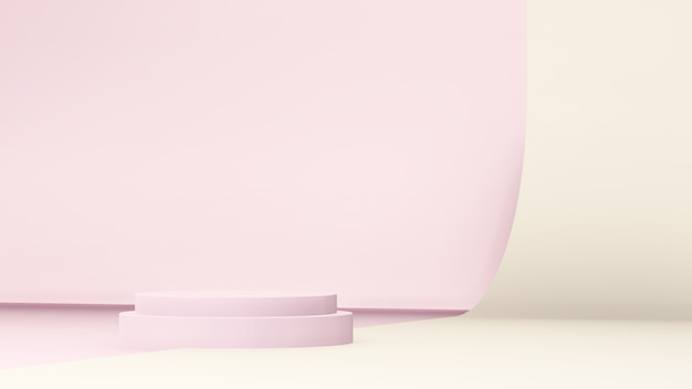 3d-renderbild hellrosa podium mit rosa wand und hellgelbem papierhintergrund für produktanzeige
