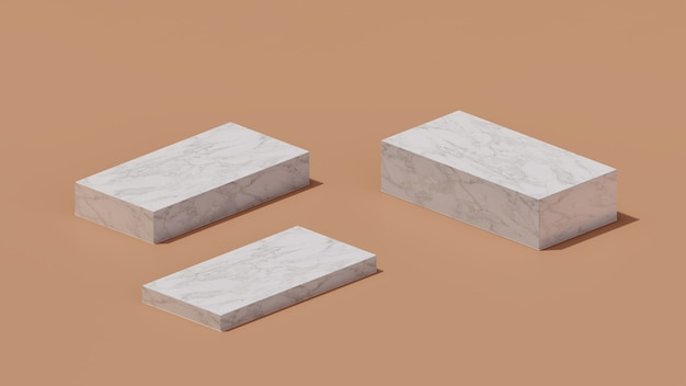 3d-renderbild marmorpodium mit braunem hintergrund produktanzeige werbung