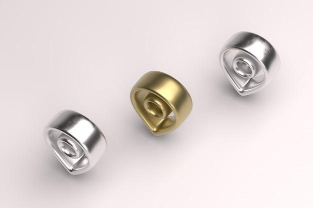 3d-renderbild mit weicher kantenposition mit gold- und silbereffekten