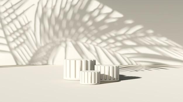 3d-renderbild römisches säulenformpodium mit gebrochenem weißem hintergrund für produktanzeige werben
