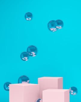 3d-renderbild rosa podeste mit schwebenden glaskugeln und blauem hintergrund für die produktanzeige