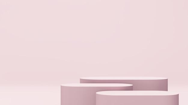 3d-renderbild weißes und rosafarbenes podium mit rosafarbenem hintergrund für produktdisplaywerbung