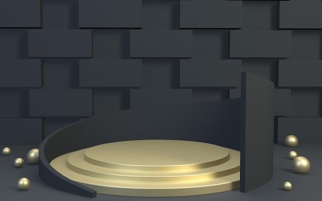 3d renderer blackgold produktanzeige podium hintergrund