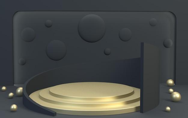 3d renderer blackgold produktanzeige podium