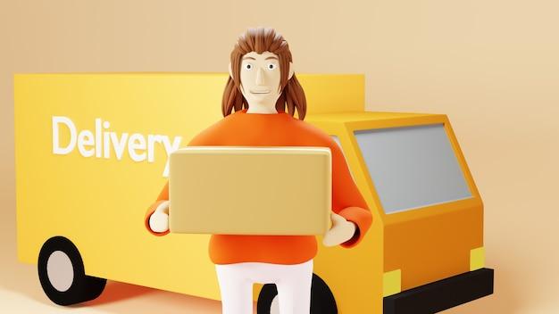 3d-renderfrau, die eine kiste mit gelbem lieferwagen auf gelbem hintergrund hält holding