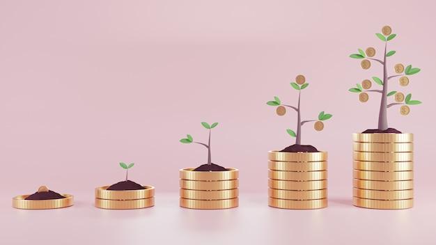 3d-renderillustration. pflanzen sie geldmünzen auf münzenstapel. unternehmensfinanzierung und geldkonzept.