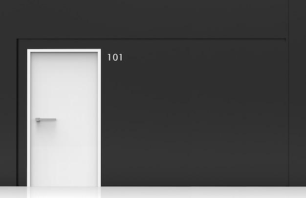 3d-rendering. 101 zimmernummer an weißer tür an schwarzer betonwand.