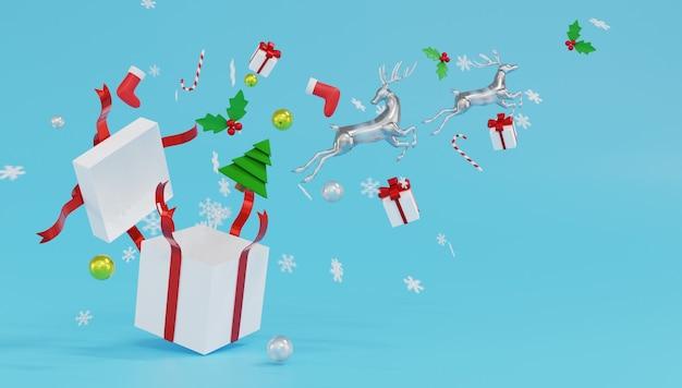 3d rendering 2 glas rentier sprung von der weißen geschenkbox mit rotem band und schneeflocken auf blauem hintergrund.