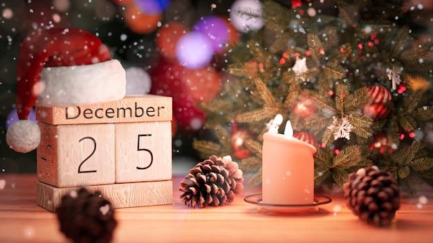 3d-rendering. 25. dezember, schönes weihnachtswanddatum auf holzblockkalender.