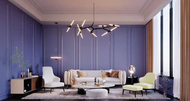 3d-rendering, 3d-darstellung, innenszene und mockup, modernes luxus-wohnzimmer mit klassischen blauen wänden und verspielten möbeln in gelb-, weiß-, brauntönen.