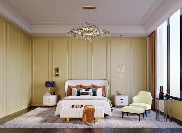 3d-rendering, 3d-darstellung, innenszene und mockup, senfgelbes luxusschlafzimmer mit geschwungenen möbeln, die an den wänden spielen.