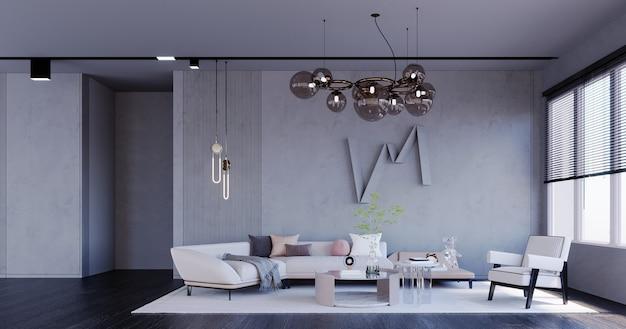 3d-rendering, 3d-darstellung, innenszene und mockup, wohnzimmer im loft-stil, weißes sofa und sessel aus dunklem holzboden chanderia, die von der decke in goldener teefarbe hängt.