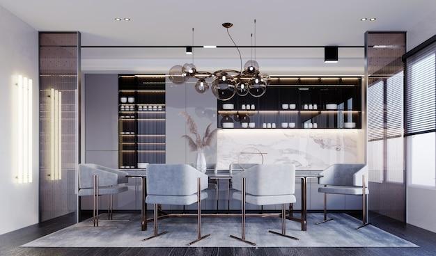 3d-rendering, 3d-darstellung, innenszene und mockup, zubereitung von speisen und essbereich, dekoriert mit goldenen teeglastrennwänden weißes essset mit klassischen braunen edelstahlbeinen.