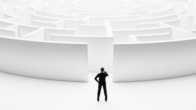 3d-rendering. 3d-geschäftsmann, der vor dem labyrinth steht.