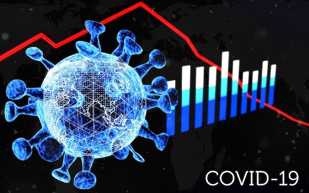 3d-rendering . 3d-illustration. weltkoronavirus-pandemie. covid-19-wirtschaftskonzept