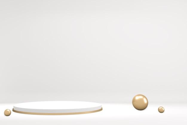 3d-rendering abstract podest podest mit gold und weißem podium minimal design