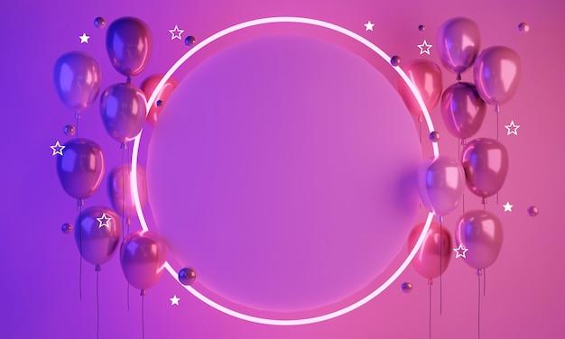 3d-rendering abstrakte futuristische lichtballons mit leerem papierkopierraum für text