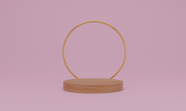 3d-rendering abstrakte minimale szene mit geometrischem holzpodest auf rosa hintergrund.