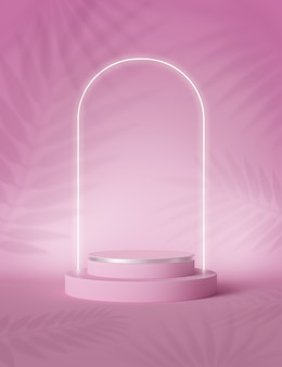 3d-rendering, abstrakte palmblätter beschatten schatten über rosa hintergrund mit kopienraum für produktanzeige.