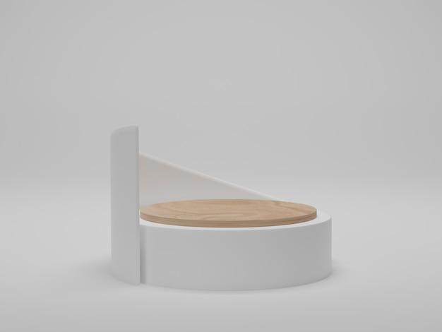 3d-rendering. abstrakter geometrischer hintergrund, zylinderpodium, modernes minimalistisches modell. holzpodest auf weißem hintergrund.
