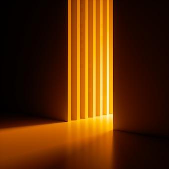 3d-rendering, abstrakter hintergrund, leuchtend gelbes neonlicht, das aus dem engen vertikalen schlitz in der wand heraus scheint.