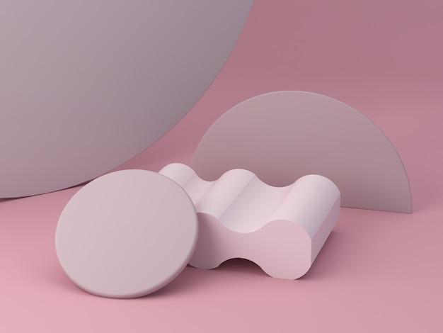3d-rendering, abstrakter rosa hintergrund mit minimalem podium, um ein produkt zu zeigen