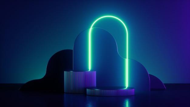 3d-rendering, abstrakter trendiger hintergrund mit leuchtendem neonlicht.