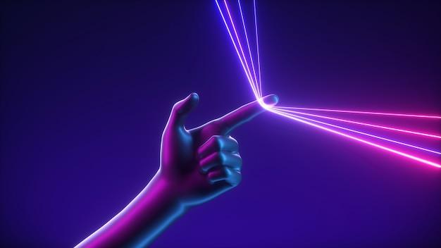 3d-rendering, abstraktes futuristisches konzept, künstliche hand zieht blau-rosa neonleuchtende linien.