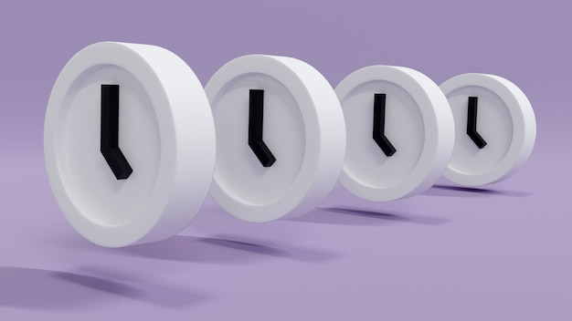 3d-rendering angeordnete uhren in einer geraden reihe auf dem hintergrundkonzept des zeitmanagements